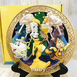 Rare Disney 3D Plate Beauty and the Beast Lumiere pot lady relief plate limited