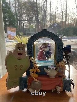 Rare Disney Beauty And The Beast Wardrobe Rotating Snow Globe