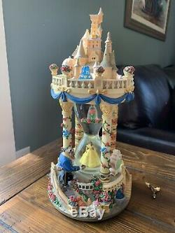 Rare Disney Beauty and the Beast Hourglass Castle Snowglobe Musical & Lights Up