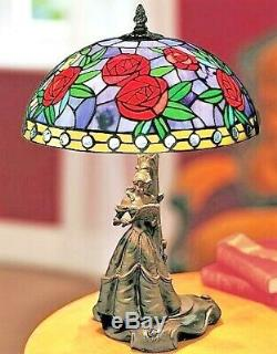 Rare Disney Belle Beauty And The Beast Tiffany Style lamp with Roses Shade NIB
