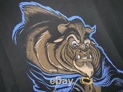 Vintage Mens XL Disney Beauty & The Beast 90s Glass Rose Movie Promo T Shirt