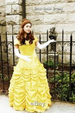 Womens Beauty and The Beast Princess Belle Cosplay Costume Fancy Ball Gown Dress